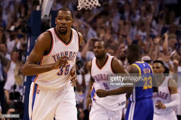 Kevin Durant of the Oklahoma City Thunder reacts in the second quarter against the Golden State Warriors in game three of the Western Conference...