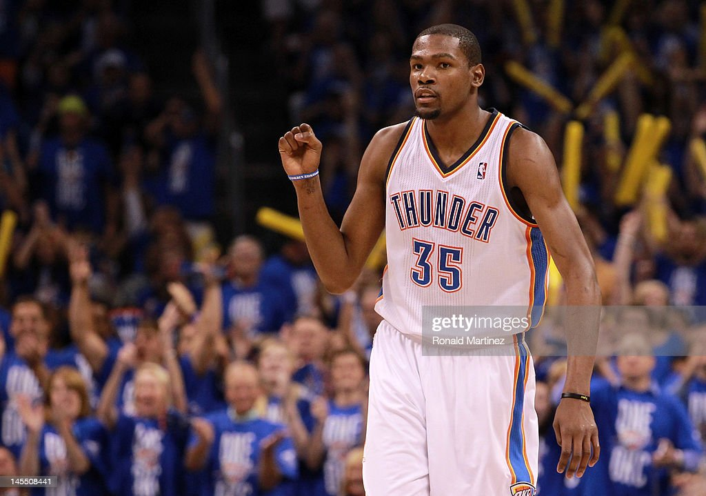 Kevin Durant #35 of the Oklahoma City Thunder reacts in the third quarter while taking on the San Antonio Spurs in Game Three of the Western Conference Finals of the 2012 NBA Playoffs at Chesapeake Energy Arena on May 31, 2012 in Oklahoma City, Oklahoma.