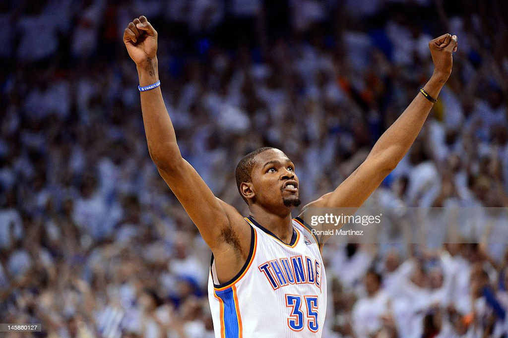 Kevin Durant of the Oklahoma City Thunder reacts towards the end of the game against the San Antonio Spurs in Game Six of the Western Conference...