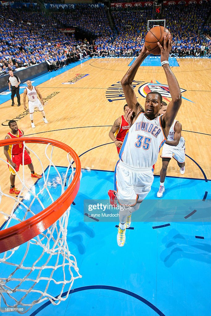 Kevin Durant #35 of the Oklahoma City Thunder rises for a dunk against the Houston Rockets in Game Five of the Western Conference Quarterfinals during the 2013 NBA Playoffs on May 1, 2013 at the Chesapeake Energy Arena in Oklahoma City, Oklahoma.