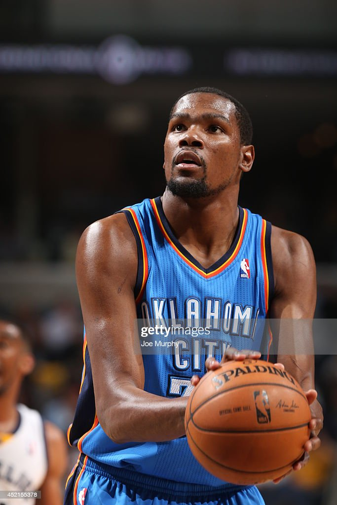 <a gi-track='captionPersonalityLinkClicked' href=/galleries/search?phrase=Kevin+Durant&family=editorial&specificpeople=3847329 ng-click='$event.stopPropagation()'>Kevin Durant</a> #35 of the Oklahoma City Thunder shoots a free throw against the Memphis Grizzlies in Game Six of the Western Conference Quarterfinals during the 2014 NBA Playoffs on May 3, 2014 at FedExForum in Memphis, Tennessee.