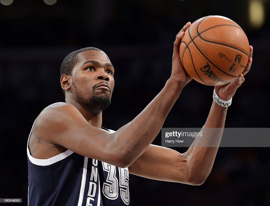 Kevin Durant #35 of the Oklahoma City Thunder shoots a free throw during the game against the Los Angeles Lakers at Staples Center on January 27, 2013 in Los Angeles, California.