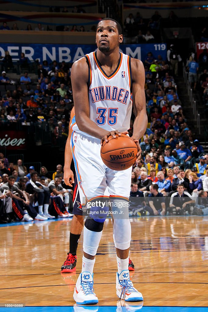 <a gi-track='captionPersonalityLinkClicked' href=/galleries/search?phrase=Kevin+Durant&family=editorial&specificpeople=3847329 ng-click='$event.stopPropagation()'>Kevin Durant</a> #35 of the Oklahoma City Thunder shoots a free-throw against the Atlanta Hawks on November 4, 2012 at the Chesapeake Energy Arena in Oklahoma City, Oklahoma.