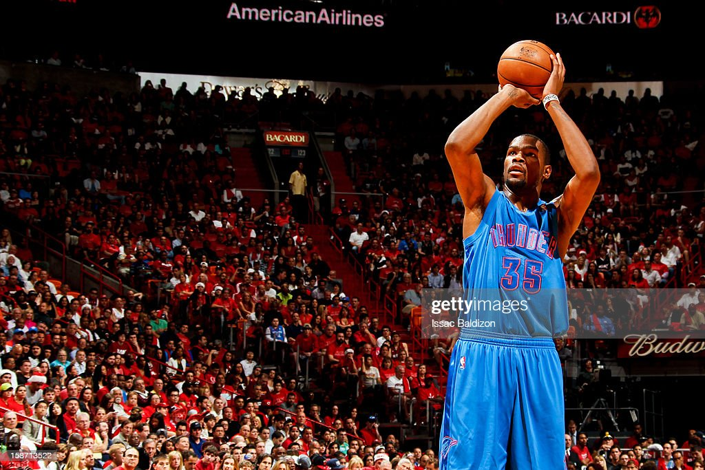 Kevin Durant #35 of the Oklahoma City Thunder shoots a free-throw against the Miami Heat during a Christmas Day game on December 25, 2012 at American Airlines Arena in Miami, Florida.