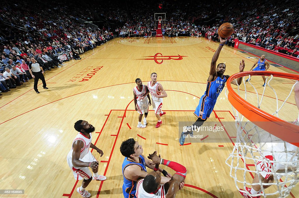 Kevin Durant #35 of the Oklahoma City Thunder shoots against the Houston Rockets on January 16, 2014 at the Toyota Center in Houston, Texas.