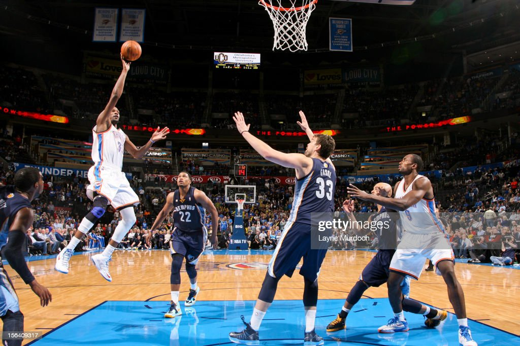 <a gi-track='captionPersonalityLinkClicked' href=/galleries/search?phrase=Kevin+Durant&family=editorial&specificpeople=3847329 ng-click='$event.stopPropagation()'>Kevin Durant</a> #35 of the Oklahoma City Thunder shoots against the Memphis Grizzlies on November 14, 2012 at the Chesapeake Energy Arena in Oklahoma City, Oklahoma.