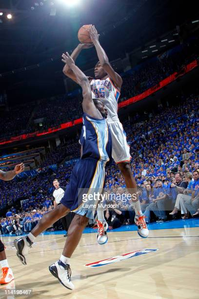 Kevin Durant of the Oklahoma City Thunder shoots against Tony Allen of the Memphis Grizzlies in Game Seven of the Western Conference Semifinals...