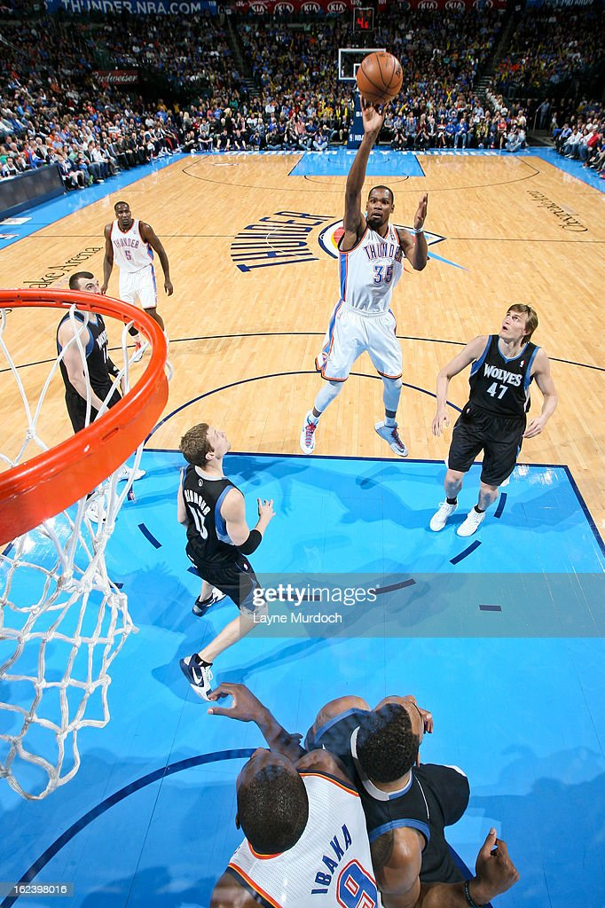 <a gi-track='captionPersonalityLinkClicked' href=/galleries/search?phrase=Kevin+Durant&family=editorial&specificpeople=3847329 ng-click='$event.stopPropagation()'>Kevin Durant</a> #35 of the Oklahoma City Thunder shoots in the lane against the Minnesota Timberwolves on February 22, 2013 at the Chesapeake Energy Arena in Oklahoma City, Oklahoma.
