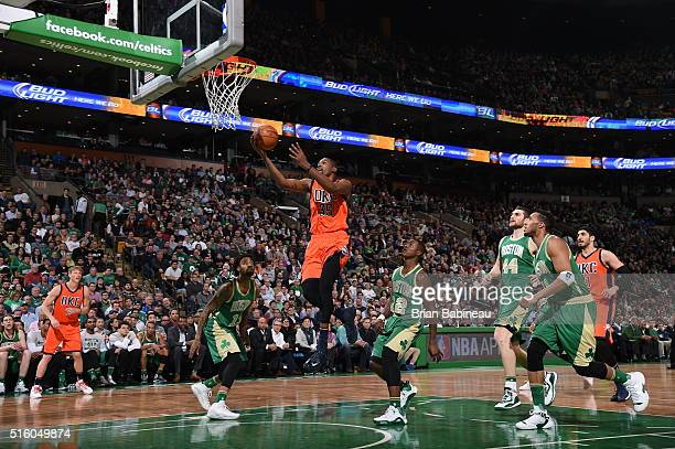 Kevin Durant of the Oklahoma City Thunder shoots the ball against the Boston Celtics on March 16 2016 at the TD Garden in Boston Massachusetts NOTE...