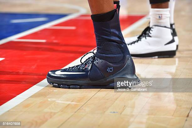 Kevin Durant of the Oklahoma City Thunder showcases his sneakers against the Philadelphia 76ers at Wells Fargo Center on March 18 2016 in...