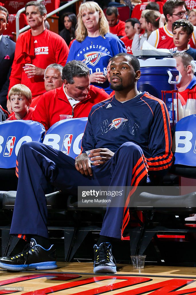 Kevin Durant #35 of the Oklahoma City Thunder sits on the bench before playing against the Houston Rockets in Game Six of the Western Conference Quarterfinals during the 2013 NBA Playoffs on May 3, 2013 at the Toyota Center in Houston, Texas.