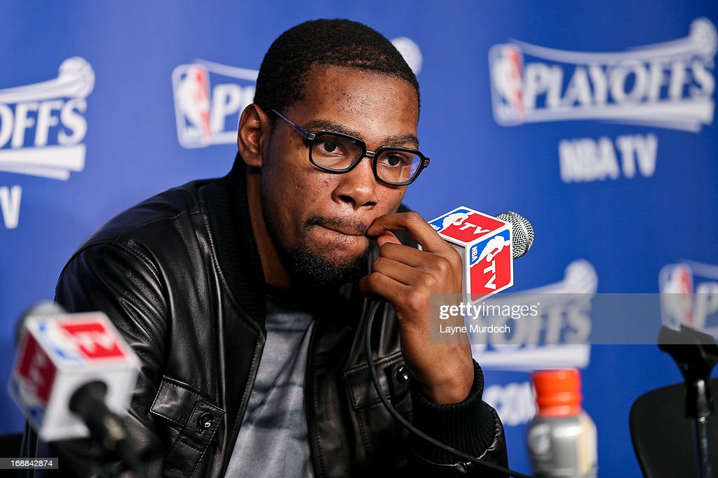Kevin Durant #35 of the Oklahoma City Thunder speaks at a press conference following his team's series loss to the Memphis Grizzlies in Game Five of the Western Conference Semifinals during the 2013 NBA Playoffs on May 15, 2013 at the Chesapeake Energy Arena in Oklahoma City, Oklahoma.