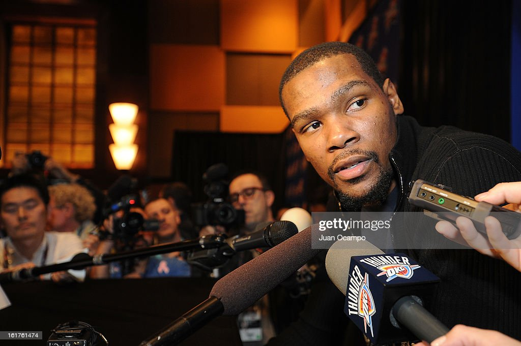 Kevin Durant #35 of the Oklahoma City Thunder speaks with reporters during media availability as part of the 2013 NBA All-Star Weekend at the Hilton Americas Hotel on February 15, 2013 in Houston, Texas.