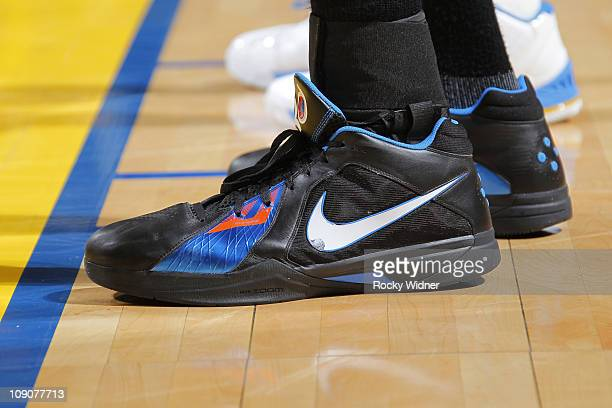 Kevin Durant of the Oklahoma City Thunder sports a new shoe against the Golden State Warriors on February 13 2011 at Oracle Arena in Oakland...