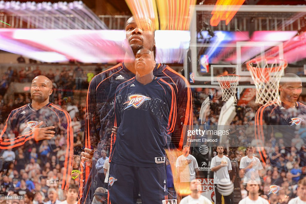 <a gi-track='captionPersonalityLinkClicked' href=/galleries/search?phrase=Kevin+Durant&family=editorial&specificpeople=3847329 ng-click='$event.stopPropagation()'>Kevin Durant</a> #35 of the Oklahoma City Thunder stands on the court before the game against the San Antonio Spurs on March 11, 2013 at the AT&T Center in San Antonio, Texas.