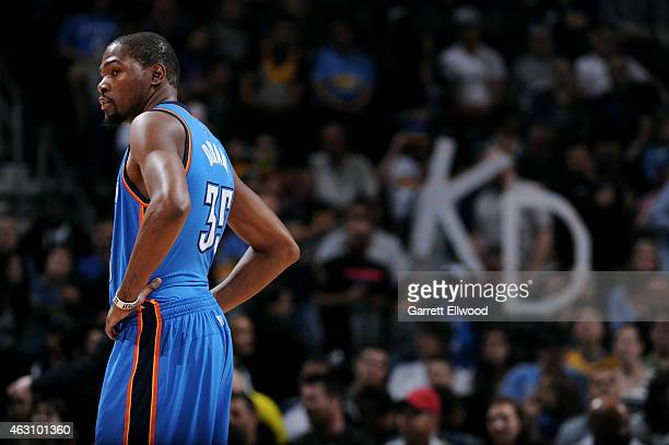 Kevin Durant of the Oklahoma City Thunder stands on the court during a game against the Denver Nuggets on February 9 2015 at Pepsi Center in Denver...