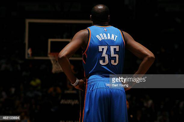 Kevin Durant of the Oklahoma City Thunder stands on the court during a game against the Denver Nuggets on February 9 2015 at the Pepsi Center in...