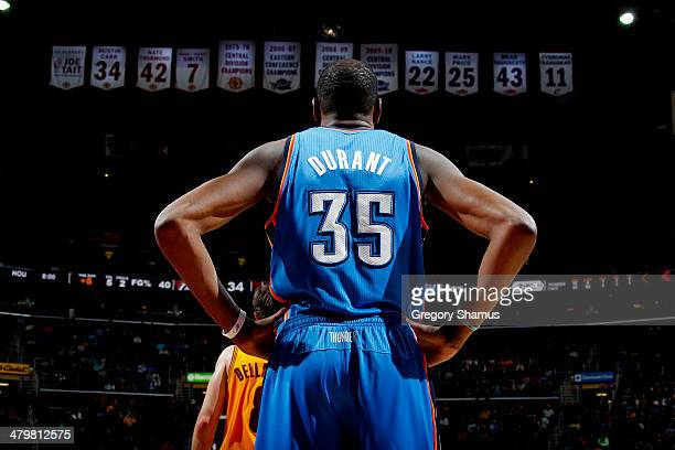 Kevin Durant of the Oklahoma City Thunder stands on the court during a game against the Cleveland Cavaliers at The Quicken Loans Arena on March 20...
