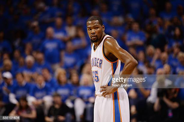 Kevin Durant of the Oklahoma City Thunder stands on the court during the game against the Golden State Warriors in Game Six of the Western Conference...