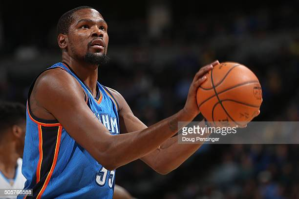 Kevin Durant of the Oklahoma City Thunder takes a free throw against the Denver Nuggets at Pepsi Center on January 19 2016 in Denver Colorado The...
