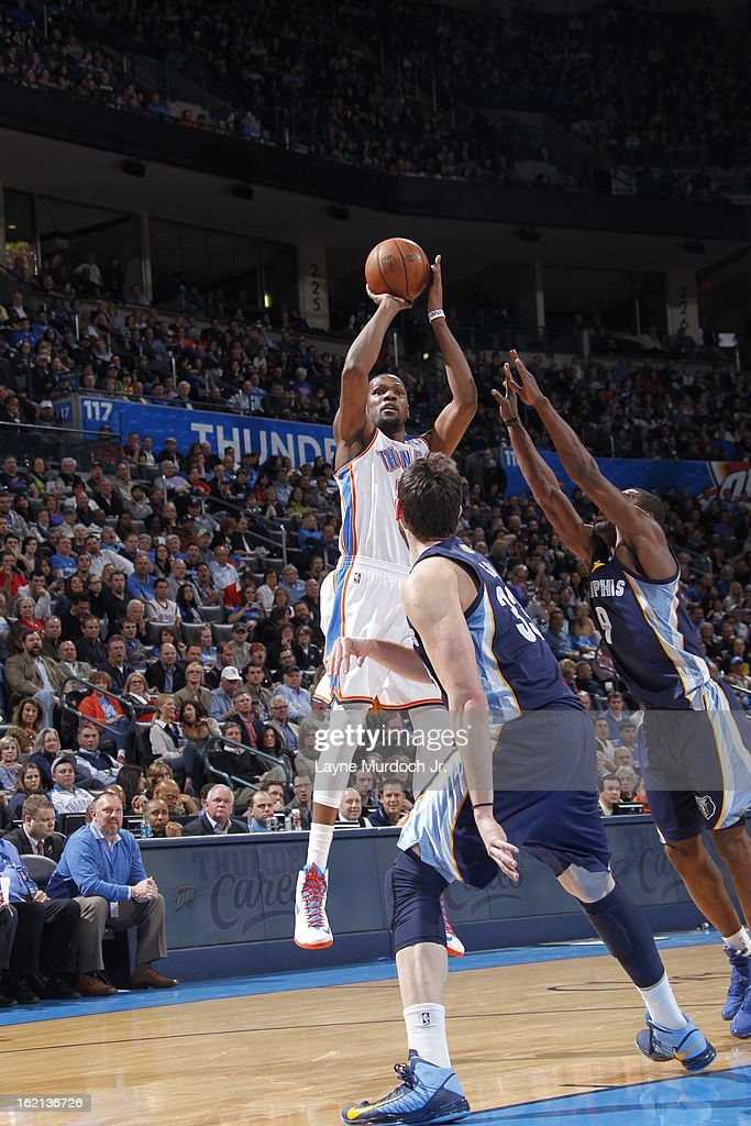 <a gi-track='captionPersonalityLinkClicked' href=/galleries/search?phrase=Kevin+Durant&family=editorial&specificpeople=3847329 ng-click='$event.stopPropagation()'>Kevin Durant</a> #35 of the Oklahoma City Thunder takes a shot against the Memphis Grizzlies on January 31, 2013 at the Chesapeake Energy Arena in Oklahoma City, Oklahoma.