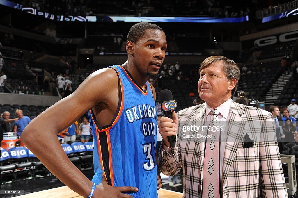 <a gi-track='captionPersonalityLinkClicked' href=/galleries/search?phrase=Kevin+Durant&family=editorial&specificpeople=3847329 ng-click='$event.stopPropagation()'>Kevin Durant</a> #35 of the Oklahoma City Thunder talks with TNT sideline reporter <a gi-track='captionPersonalityLinkClicked' href=/galleries/search?phrase=Craig+Sager&family=editorial&specificpeople=617407 ng-click='$event.stopPropagation()'>Craig Sager</a> after his teams victory over the San Antonio Spurs in Game Five of the Western Conference Finals during the 2012 NBA Playoffs on June 4, 2012 at the AT&T Center in San Antonio, Texas.