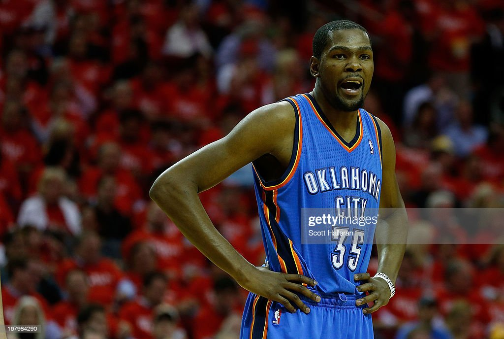 <a gi-track='captionPersonalityLinkClicked' href=/galleries/search?phrase=Kevin+Durant&family=editorial&specificpeople=3847329 ng-click='$event.stopPropagation()'>Kevin Durant</a> #35 of the Oklahoma City Thunder waits on the court during the game against the Houston Rockets in Game Six of the Western Conference Quarterfinals of the 2013 NBA Playoffs at the Toyota Center on May 3, 2013 in Houston, Texas.