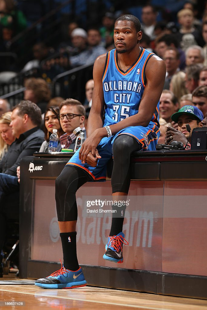<a gi-track='captionPersonalityLinkClicked' href=/galleries/search?phrase=Kevin+Durant&family=editorial&specificpeople=3847329 ng-click='$event.stopPropagation()'>Kevin Durant</a> #35 of the Oklahoma City Thunder waits to get in the game against the Minnesota Timberwolves on November 1, 2013 at Target Center in Minneapolis, Minnesota.