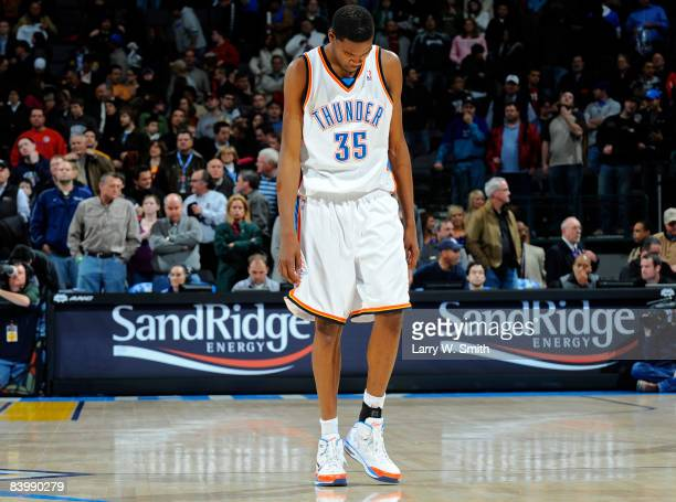 Kevin Durant of the Oklahoma City Thunder walks off the court after the loss to the Memphis Grizzlies at the Ford Center on December 10 2008 in...