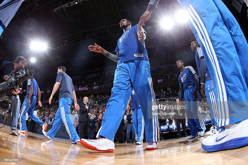 Kevin Durant #35 of the Oklahoma City Thunder walks onto the court wearing his NBA FIT Jersey during the game against the Memphis Grizzlies during an NBA game on January 31, 2013 at the Chesapeake Energy Arena in Oklahoma City, Oklahoma.