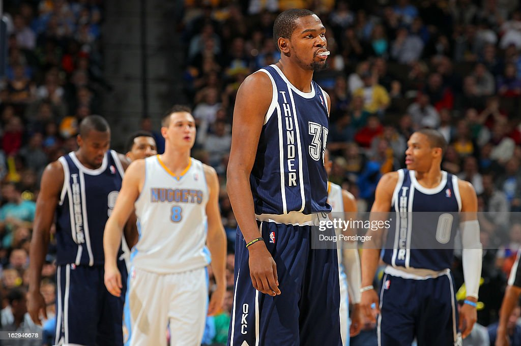 Kevin Durant #35 of the Oklahoma City Thunder walks up court against the Denver Nuggets at the Pepsi Center on March 1, 2013 in Denver, Colorado. The Nuggets defeated the Thunder 105-103.