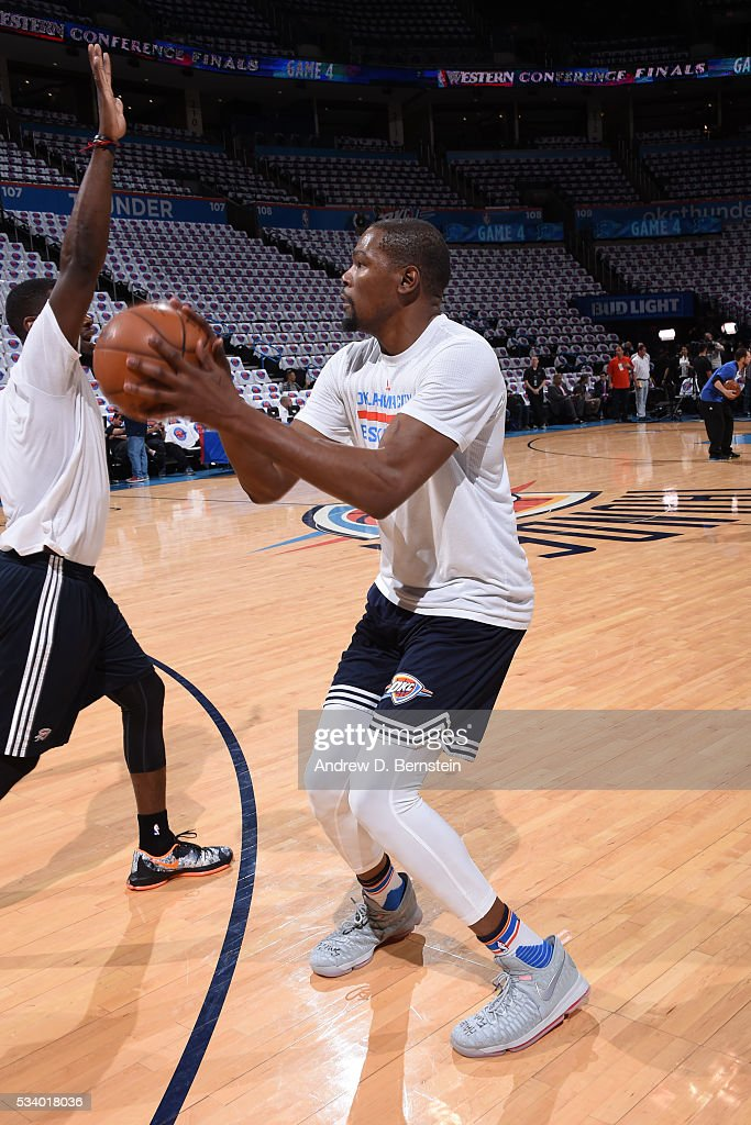 Kevin Durant #35 of the Oklahoma City Thunder warms up before facing the Golden State Warriors for Game Four of the Western Conference Finals during the 2016 NBA Playoffs on May 24, 2016 at Chesapeake Energy Arena in Oklahoma City, Oklahoma.