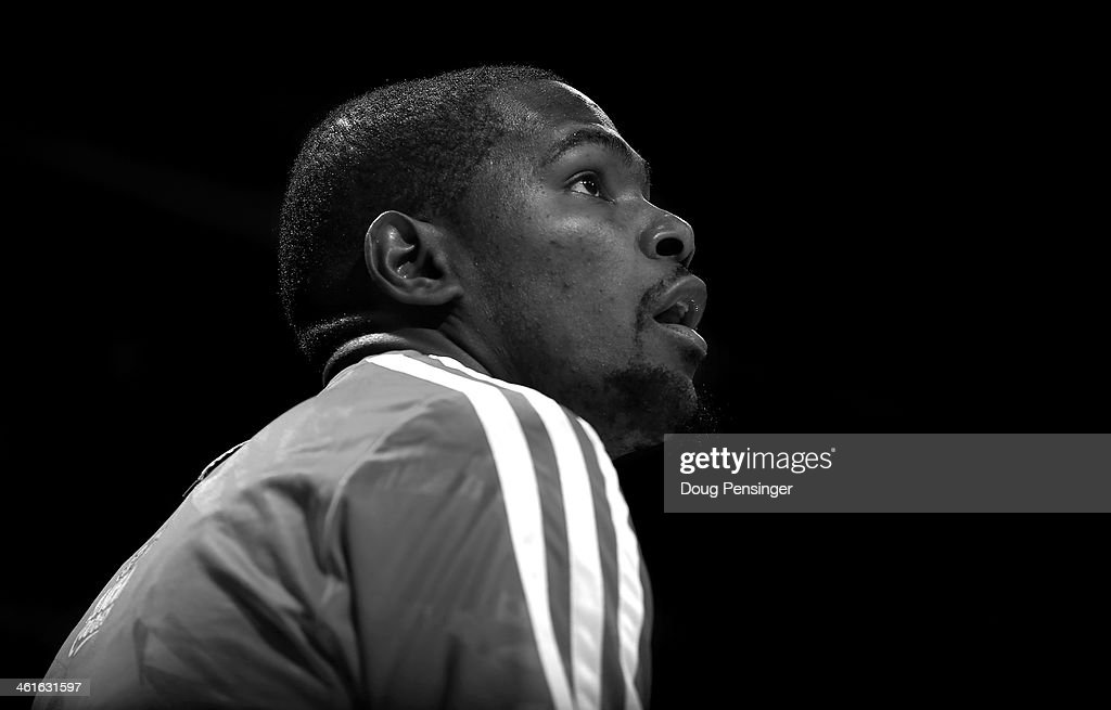 Kevin Durant #35 of the Oklahoma City Thunder warms up prior to facing the Denver Nuggets at Pepsi Center on January 9, 2014 in Denver, Colorado. The Nuggets defeated the Thunder 101-88.