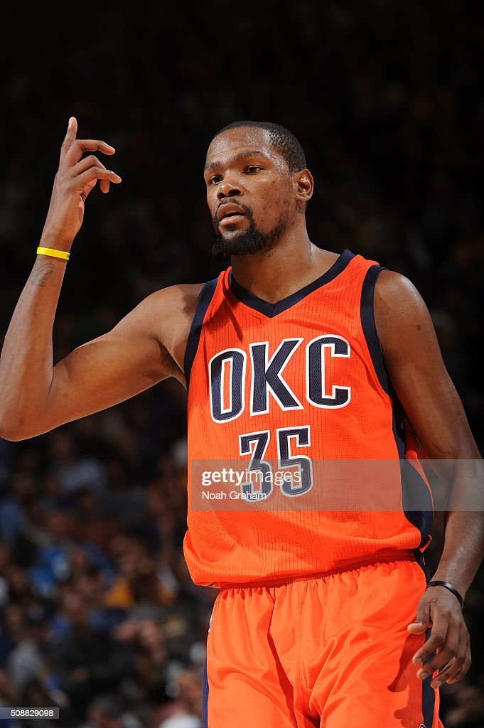 <a gi-track='captionPersonalityLinkClicked' href=/galleries/search?phrase=Kevin+Durant&family=editorial&specificpeople=3847329 ng-click='$event.stopPropagation()'>Kevin Durant</a> #35 of the Oklahoma City Thunder while facing the Golden State Warriors on February 6, 2016 at Oracle Arena in Oakland, California.