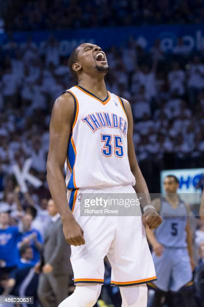 Kevin Durant of the Oklahoma City Thunder yells against the Memphis Grizzlies in Game Two of the Western Conference Quarterfinals during the 2014 NBA...
