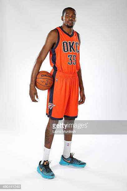 Kevin Durant of the Oklahoma Thunder poses with the team's new Sunset uniform on September 23 2015 at the Integris Health Thunder Development Center...