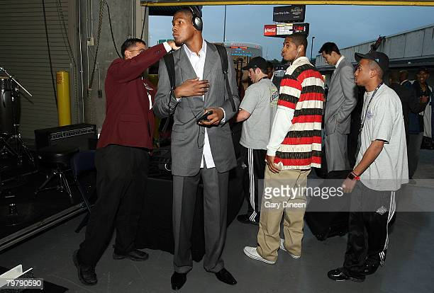 Kevin Durant of the Rookie team arrives to the arena and goes through security prior to the TMobile Rookie Challenge Youth Jam part of 2008 NBA...