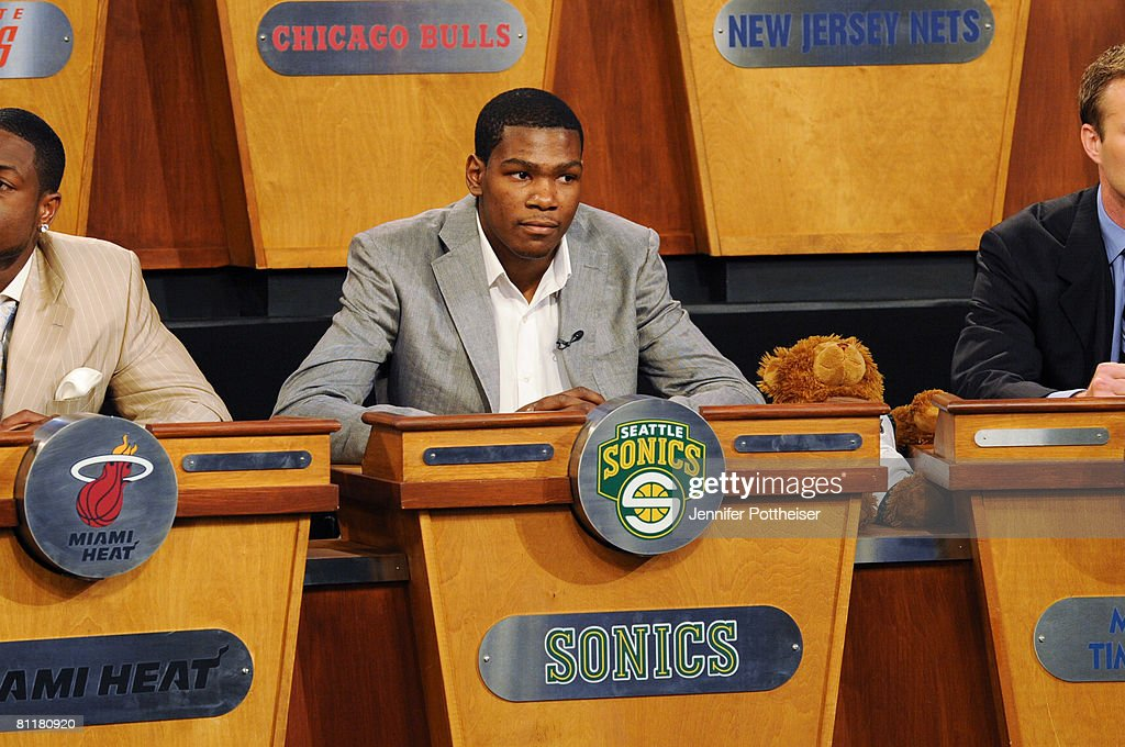 Kevin Durant of the Seattle Sonics looks on during the 2008 NBA Draft Lottery at the NBATV Studios on May 20, 2008 in Secaucus, New Jersey.