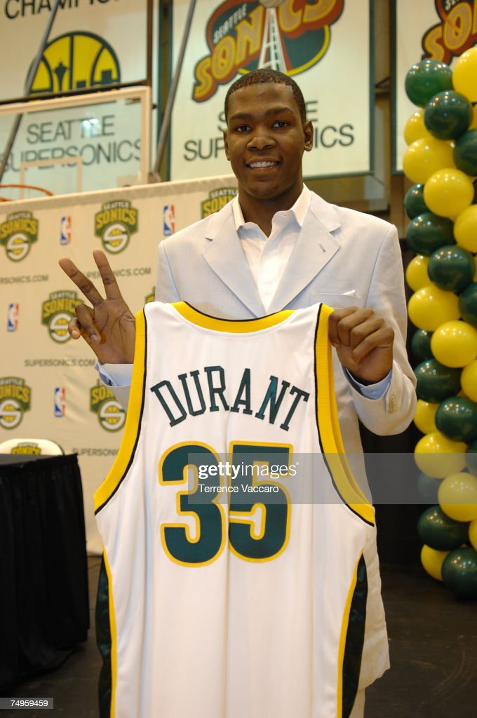 <a gi-track='captionPersonalityLinkClicked' href=/galleries/search?phrase=Kevin+Durant&family=editorial&specificpeople=3847329 ng-click='$event.stopPropagation()'>Kevin Durant</a> #35 of the Seattle SuperSonics holds up his new jersey during a press conference held at the Furtado Center June 29, 2007 in Seattle, Washington.