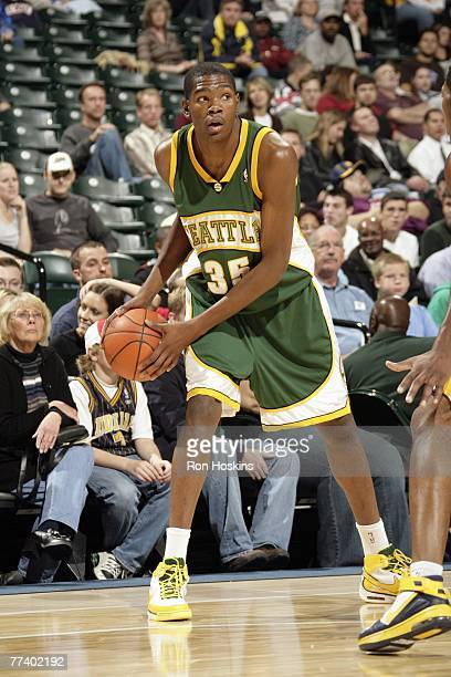 Kevin Durant of the Seattle SuperSonics looks to pass during a preseason game against the Indiana Pacers at Conseco Fieldhouse on October 13 2007 in...