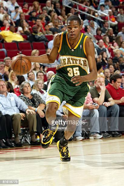 Kevin Durant of the Seattle SuperSonics moves the ball upcourt during the game against the Houston Rockets at the Toyota Center on April 9 2008 in...