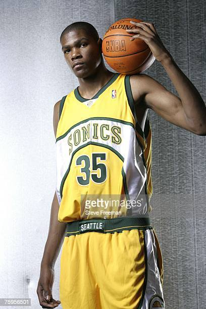 Kevin Durant of the Seattle SuperSonics poses for a portrait during the 2007 NBA Rookie Photo Shoot on July 27 2007 at the MSG Training Facility in...