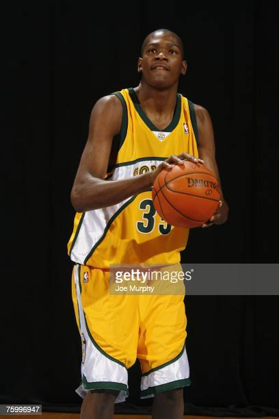 Kevin Durant of the Seattle SuperSonics poses for an action portrait during the 2007 NBA Rookie Photo Shoot on July 27 2007 at the MSG Training...