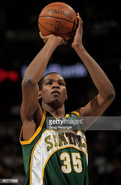 Kevin Durant of the Seattle SuperSonics takes a free throw against the Denver Nuggets at the Pepsi Center on March 16 2008 in Denver Colorado The...
