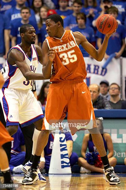 Kevin Durant of the Texas Longhorns controls the ball during the first half of the game against the Kansas Jayhawks on March 3 2007 at Allen...