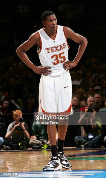 Kevin Durant of the Texas Longhorns looks on during a break in game action against the New Mexico State Aggies during the first round of the NCAA...