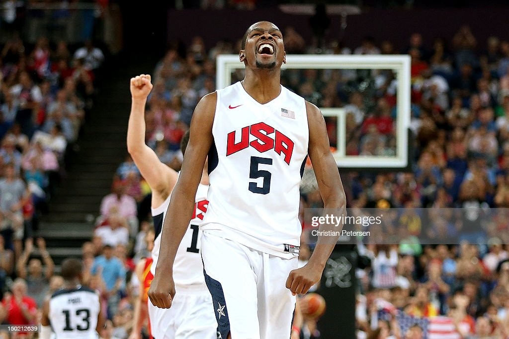 Kevin Durant of the United States celebrates a shot during the Men's Basketball gold medal game between the United States and Spain on Day 16 of the...