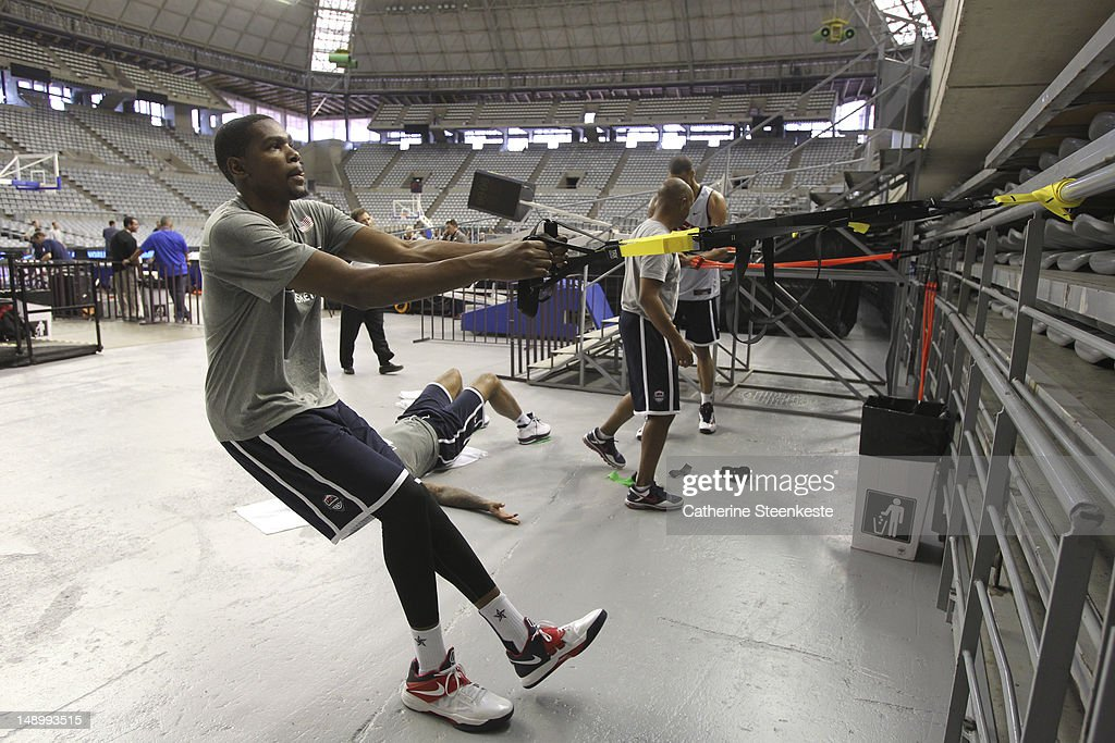 <a gi-track='captionPersonalityLinkClicked' href=/galleries/search?phrase=Kevin+Durant&family=editorial&specificpeople=3847329 ng-click='$event.stopPropagation()'>Kevin Durant</a> # 5 of the US Men's Senior National team is practicing at Palau Sant Jordi II arena in Barcelona, Spain on July 21, 2012.