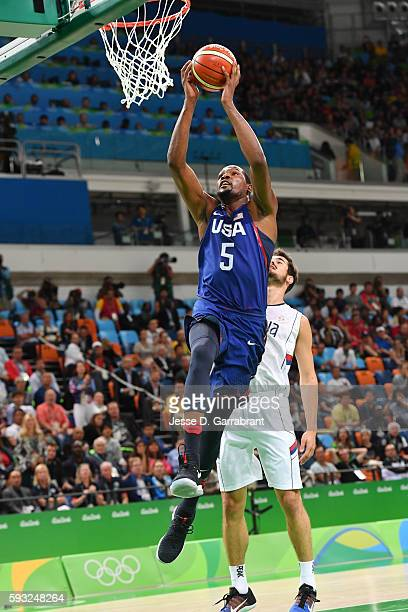 Kevin Durant of the USA Basketball Men's National Team goes up for a dunk against Serbia during the Gold Medal Game on Day 16 of the Rio 2016 Olympic...