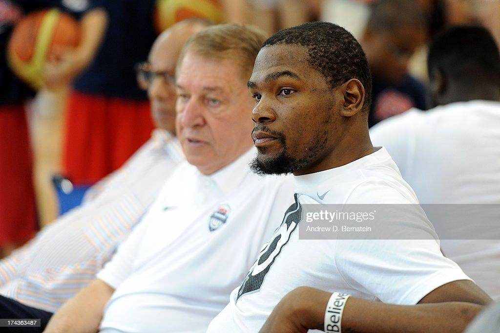 <a gi-track='captionPersonalityLinkClicked' href=/galleries/search?phrase=Kevin+Durant&family=editorial&specificpeople=3847329 ng-click='$event.stopPropagation()'>Kevin Durant</a> of the USA Basketball Men's National Team watches practice at Training Camp at the Mendenhall Center on July 24, 2013, in Las Vegas, Nevada.